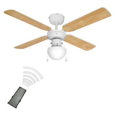 Modern Remote Control White  Beech Wood Effect 3 Speed Ceiling Fan with Light