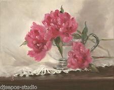 """""""Monsieur Jules Elie Peony"""" Debra Sepos original oil 8"""" x 10"""" peonies still life"""