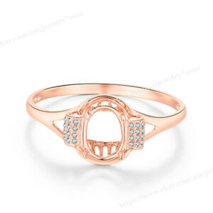 Oval Shape 9x7mm Semi Mount Ring Luxurious Solid 14k Rose Gold Natural Diamond