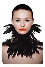 Black Gothic Victorian Natural Feather Choker Neck Wrap Collar Halloween