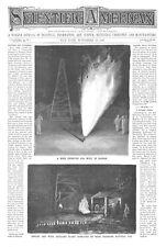 Natural Gas in Kansas - Gas Wells near Iola, Kansas  - 1895 Antique Print