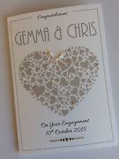 Handmade Personalised Engagement Wedding Anniversary Card: Large Heart Design