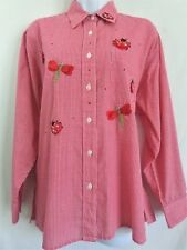 DRAPERS & DAMONS Red White Ladybug Dragonfly Checkered Blouse Top Size MEDIUM M