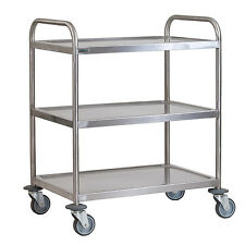 Stainless Steel 3 Tier Serving Trolley Large