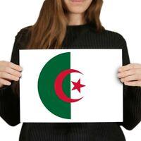 A4 - Algeria Flag Map Poster 29.7X21cm280gsm #9051