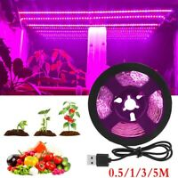Full Spectrum USB LED Strip Grow Light 5V Hydroponic Greenhouse Veg Plant Lamp