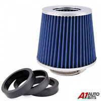 Blue Easy Fit Universal Car Sport Cold Air Filter Intake Kit 60 / 65 / 77 mm
