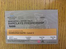 31/01/2007 BIGLIETTO: Newcastle United V Aston Villa [bernicia Suite Stagione 2006/20