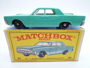 VINTAGE MATCHBOX LESNEY No.31c LINCOLN CONTINENTAL IN ORIGINAL BOX ISSUED 1964