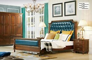 Antique Style Bedroom Set 4tlg. Wardrobe Make-Up Bed Chesterfield Leather