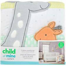 NEW Carter's 3 Piece Giraffe Neutral Nursery Crib Bedding Sheet Dust Ruffle