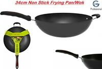 28cm Non Stick Wok with Glass Lid and Stir Frying Pan Long Double Handle 15137C