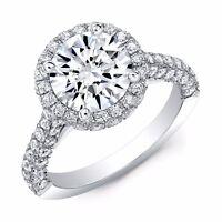 2.40 Ct Halo Round Cut Diamond 3-Row Pave Engagement Ring F,VS1 GIA 14K WG/RG