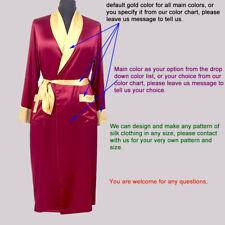 Womens 19 Momme 100% Silk Both Robe Night Gown Long Nighties Sleepwear Plus Size