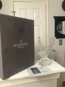 "SUPERB 8"" Waterford Cut Crystal BALD EAGLE BIRD SCULPTURE Figurine MINT IN BOX"