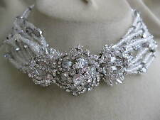 BARRERA Ornate Silvertone 12 Strand Silver & Clear Crystal Bead Choker Necklace
