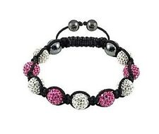PINK AND CLEAR  SHAMBALLA BRACELET-MACRAME-9 DISCO BEADS-CZECH CRYSTAL-UK SELLER