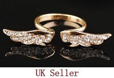 GOLD Angel Wings Gem Rhinestone Anillo Indie Kitsch Cristal Ajustable