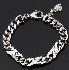18k 18ct White Gold GF pattern heart dangle bracelet chain woman BL-A205