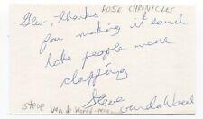 Rose Chronicles - Steve Van Der Woerd Signed 3x5 Index Card Autographed
