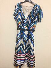 4acf44a691a0f Yumi Uttam Boutique UK Size 10 Aztec Print Embellished Waist Line Midi Dress