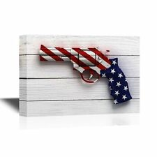 wall26 - Canvas Wall Art - Gun with the American Flag Pattern - 12x18 inches