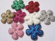 """80 Glitter 1"""" Flower Padded Applique Hair-8 Colors AF006"""