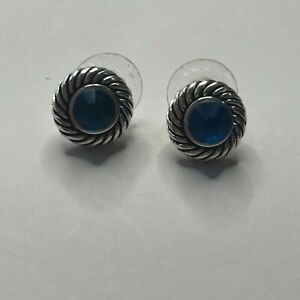 Sterling Silver Round Blue Topaz Rope Earrings