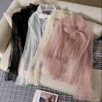 Women Tulle Bow Tie Neck Sheer Basic Shirt Party Pullover Casual Top Blouse New