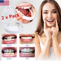 2 Pieces of Fits All Flex Teeth Top Dentures Cosmetic Veneer Perfect Smile US