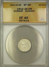 1912 Norway Silver 25 Ore Coin ANACS EF-40 Details Cleaned