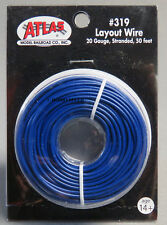 ATLAS HO & O GAUGE TRACK LAYOUT WIRE 20 GAUGE STRANDED 50 FT BLUE train n ATL319