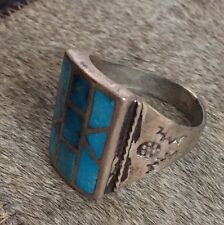 HVY LG OLD PAWN NAVAJO NATIVE AMERICAN 925 STERLING SILVER TURQUOISE INLAY RING
