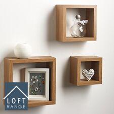 Set of 3 Floating Wall Shelves Cube Shelf in Oak