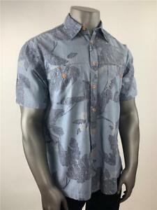 IZOD JEANS Button-Front Shirt Cotton Hawaiian Men's XL Tropical Navy Reverse
