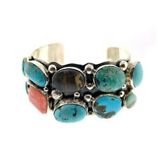 Spiny Oyster Cluster Bracelet Cuff Navajo Sterling Silver Multi Stone Turquoise