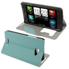 Book Tasche für HTC Butterfly Etui Hülle hellblau Handytasche mit Anrufanzeige