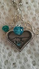 Floating Memory Heart Locket set Forever Family Love My Kids  Origami Style
