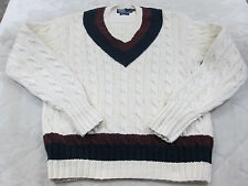 Vintage Mens Polo Ralph Lauren Hand Cable Knit Sweater V Neck SIZE LARGE m129