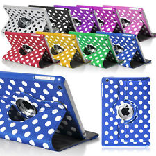 For iPad Mini 1 2 3 Polka Dots 360 Rotation Leather Case Stand Cover + Screen