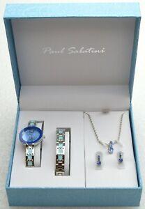 Paul Sabatini Ladies Watch Giftset Necklace Bracelet Earrings SILVER & BLUE