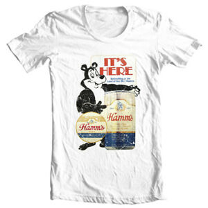 Hamms Beer T-shirt Bear retro vintage style distressed print cotton graphic tee