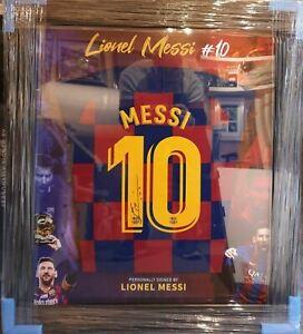 Lionel Messi Barcelona 19/ 20 Signed Shirt Framed (Gold style frame)