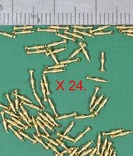 24 'Long' OO/HO gauge locomotive handrail knobs - precision turned brass.
