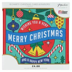 CARDS Christmas Retro Bold Baubles on heavy Card Pack of 8 Cards - (2345)