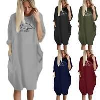 Women Long Sleeve T-Shirt Midi Dress Loose Pocket Blouse Oversized Top Plus Size