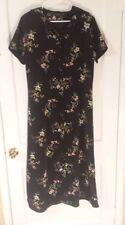 Impressions Workshop Women's Large Floral Button Down Black Dress Modest