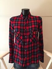 PIMKIE CAMICIA SHIRT DONNA WOMAN  IT 42 100% COTONE A QUADRI BORCHIE STUDS