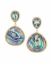 18K Yellow Gold Classical Abalone Shell Earrings Drop Earrings Wedding Gift