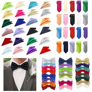 Men's Satin Slim Neck Tie Pocket Handkerchief Bow Tie Pocket Square Gift Wedding